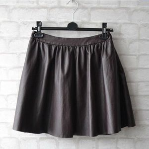 Topshop Oxblood Brown Faux Leather Skater Skirt